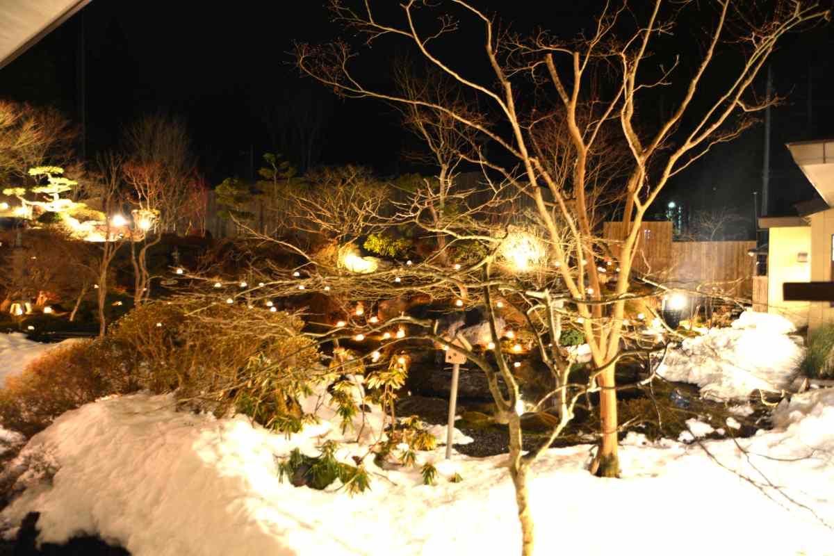 奥の院ほてるとく川の夜の中庭