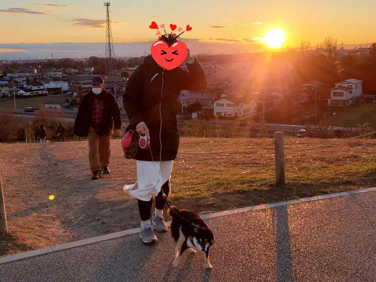 夕日をバックにママと犬(うみ)